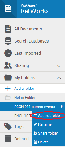 Create a subfolder through a folder's options menu.