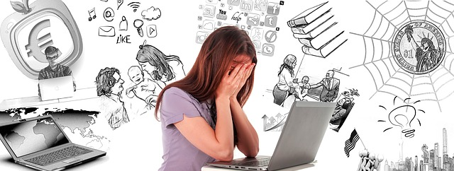 A student sitting in front of her laptop with her head in her hands with multiple ideas floating above her and around her.
