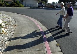 Two elderly people walking on the street