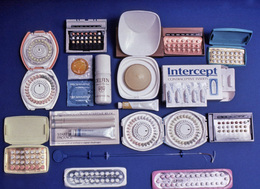 A variety of birth control options, pills, IUD, and spermicides.
