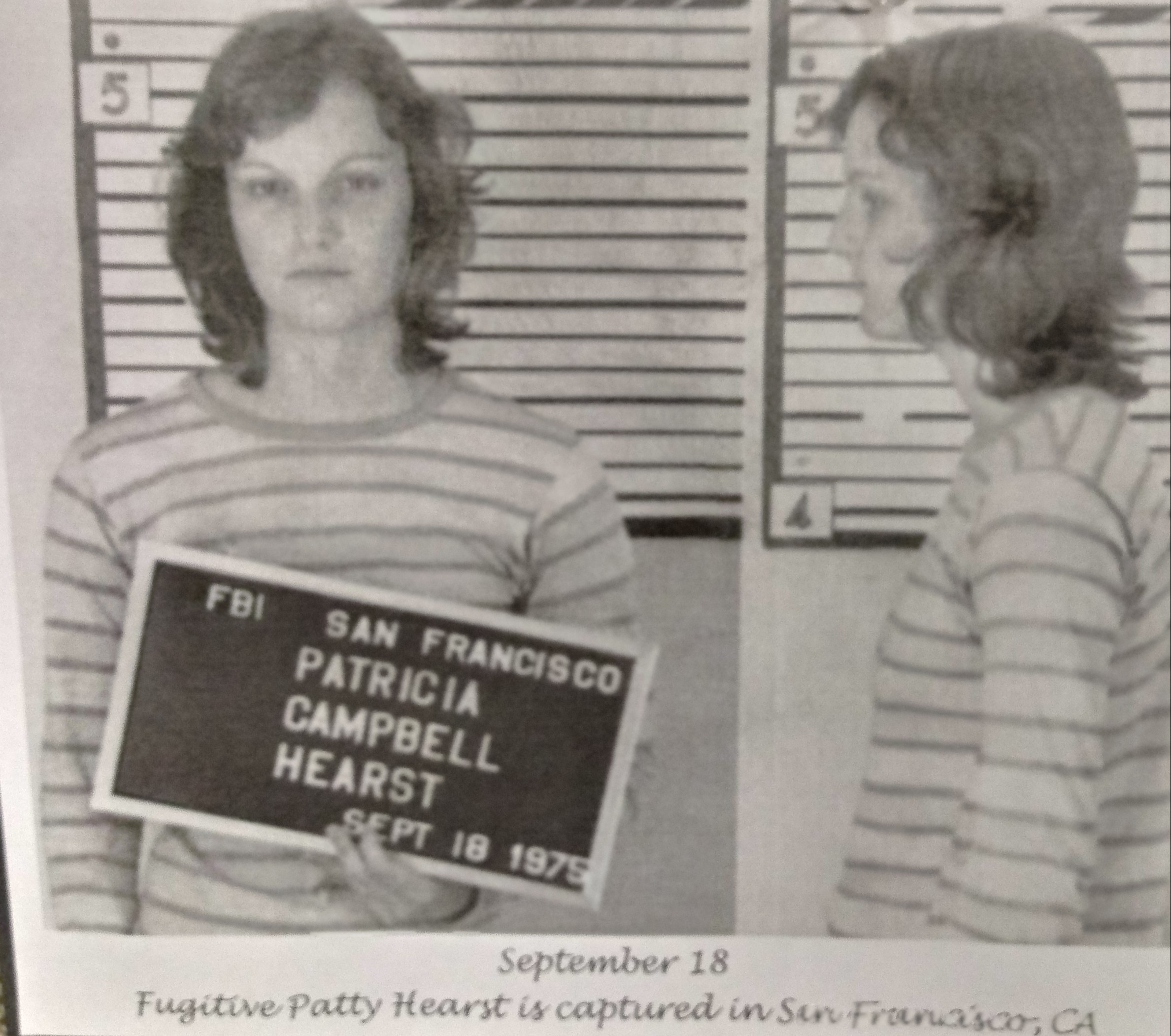 Police mugshots of Patty Hurst, facing front & in profile.