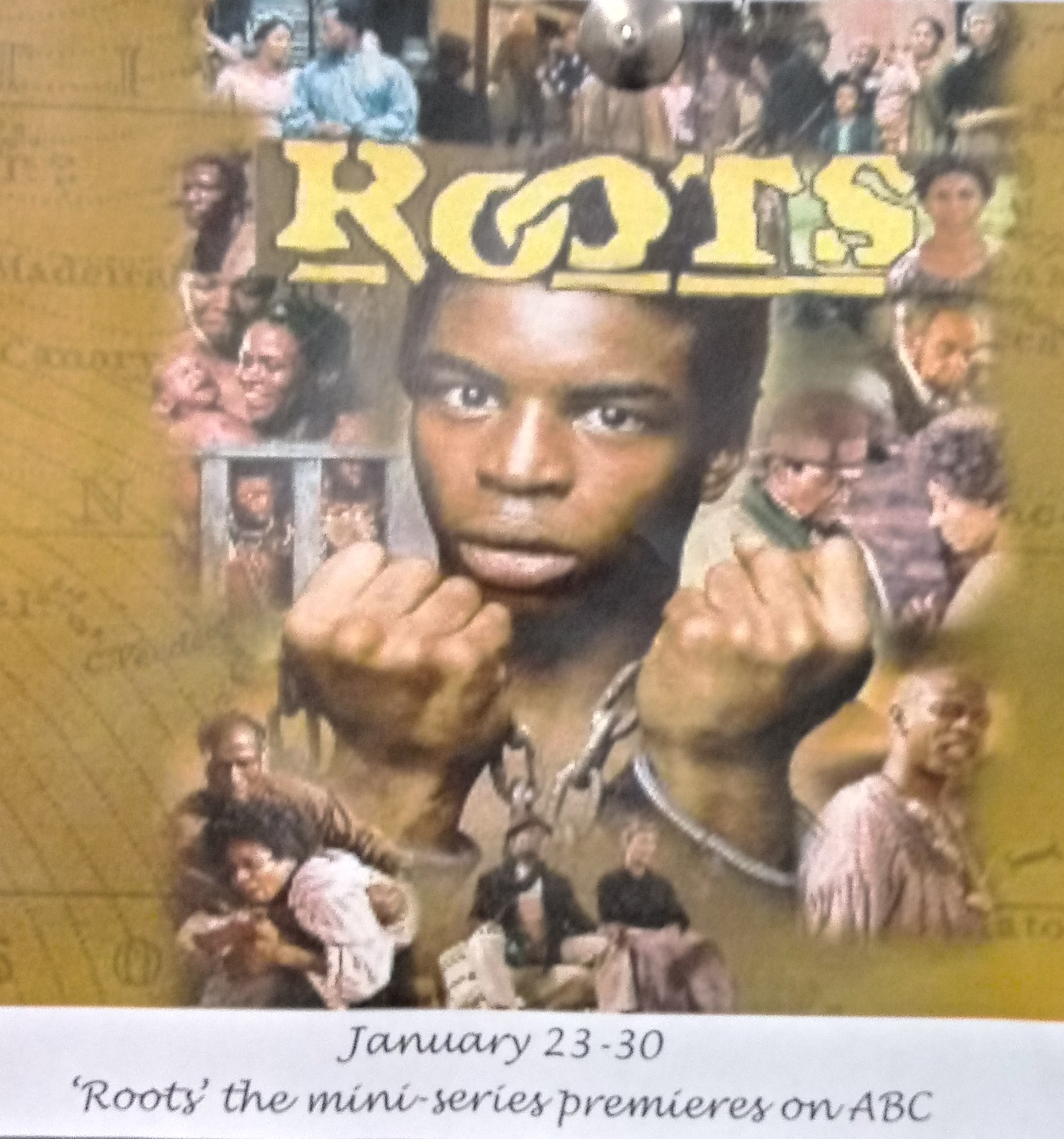 Photograph of the Roots mini-series protagonist, Kunta Kinte,  with fetters on his wrists.