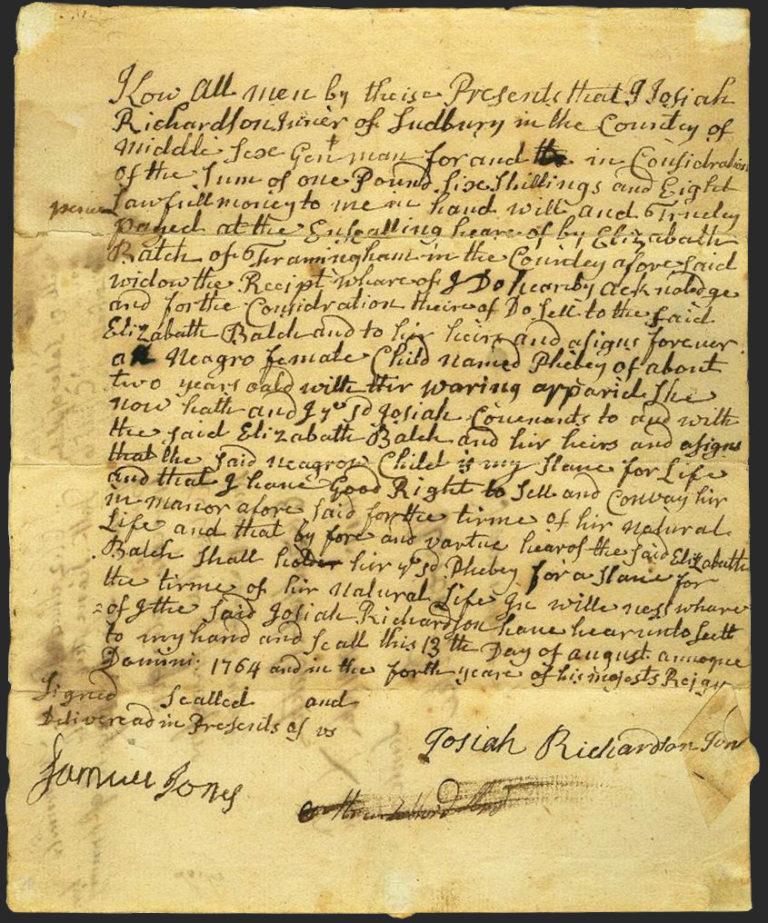 Picture of original bill of sale written in cursive