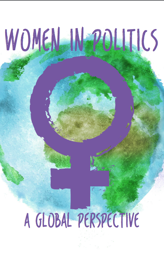 "An image of the Earth with the Venus symbol and the words ""Women in Politics; a global perspective"" in purple on top of it."