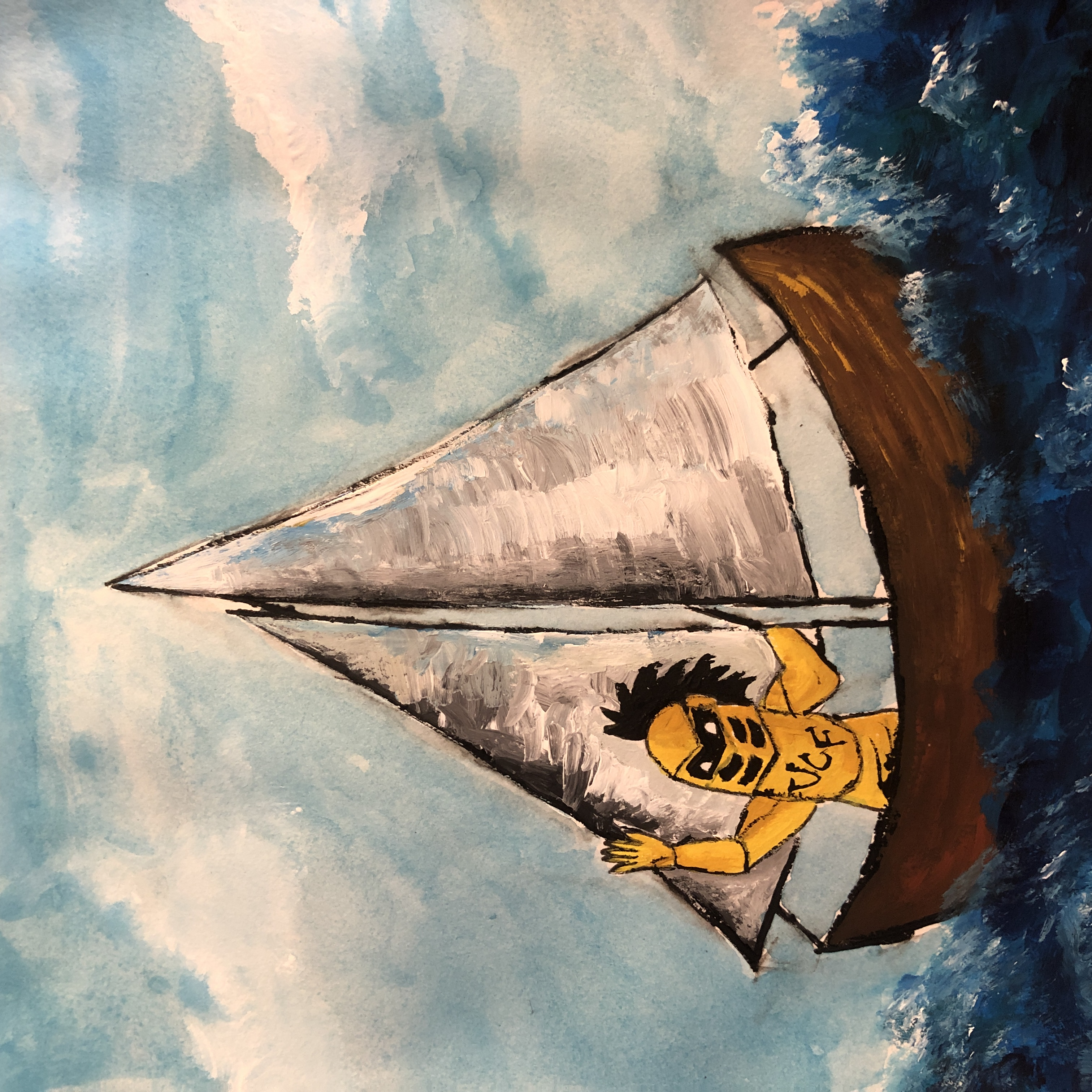 PD painting of knightro in a sailboat