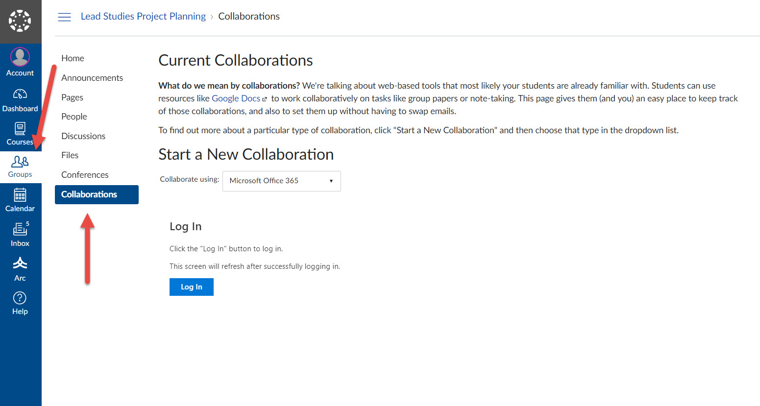 Group and Collaborate buttons in Canvas LMS Navigation