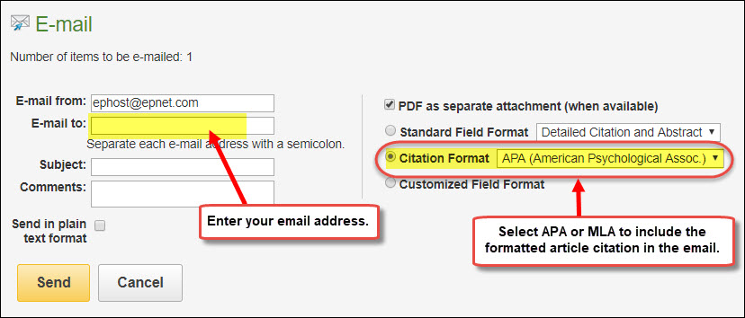Email form in Academic Search Premier highlighting the Citation Format drop down menu.