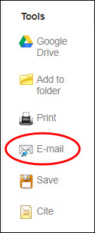 Email icon in Academic Search Premier