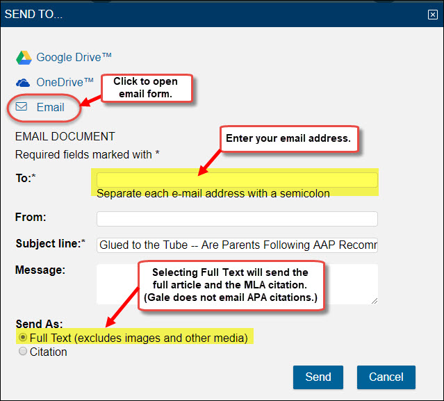 Email form in Gale databases