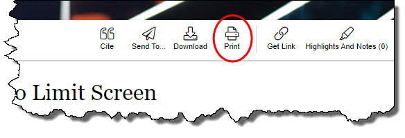 Print Icon in Gale database