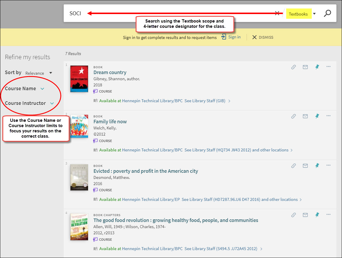 Shows search using the textbooks scope and 4-letter SOCI course designator