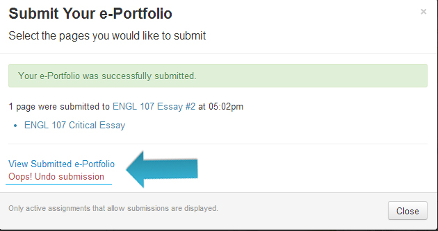 window showing link to check submission or undo submission