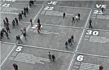 people walking on a calendar