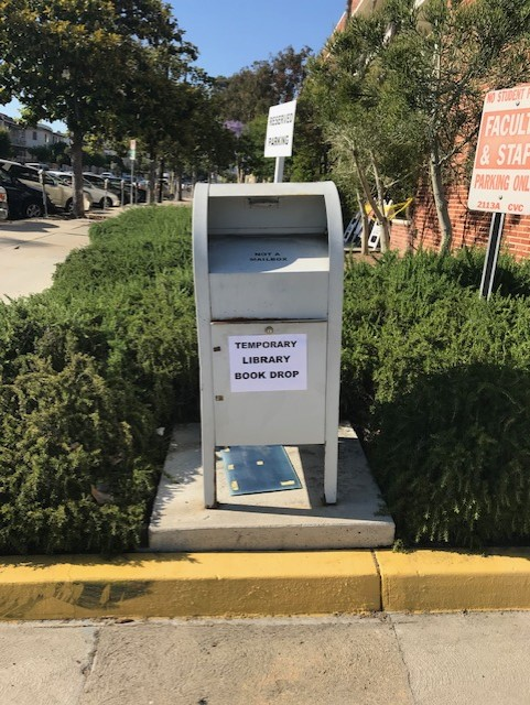 Temporary library Book Drop