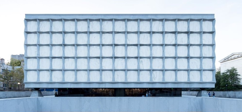 Exterior picture of the Beinecke Library