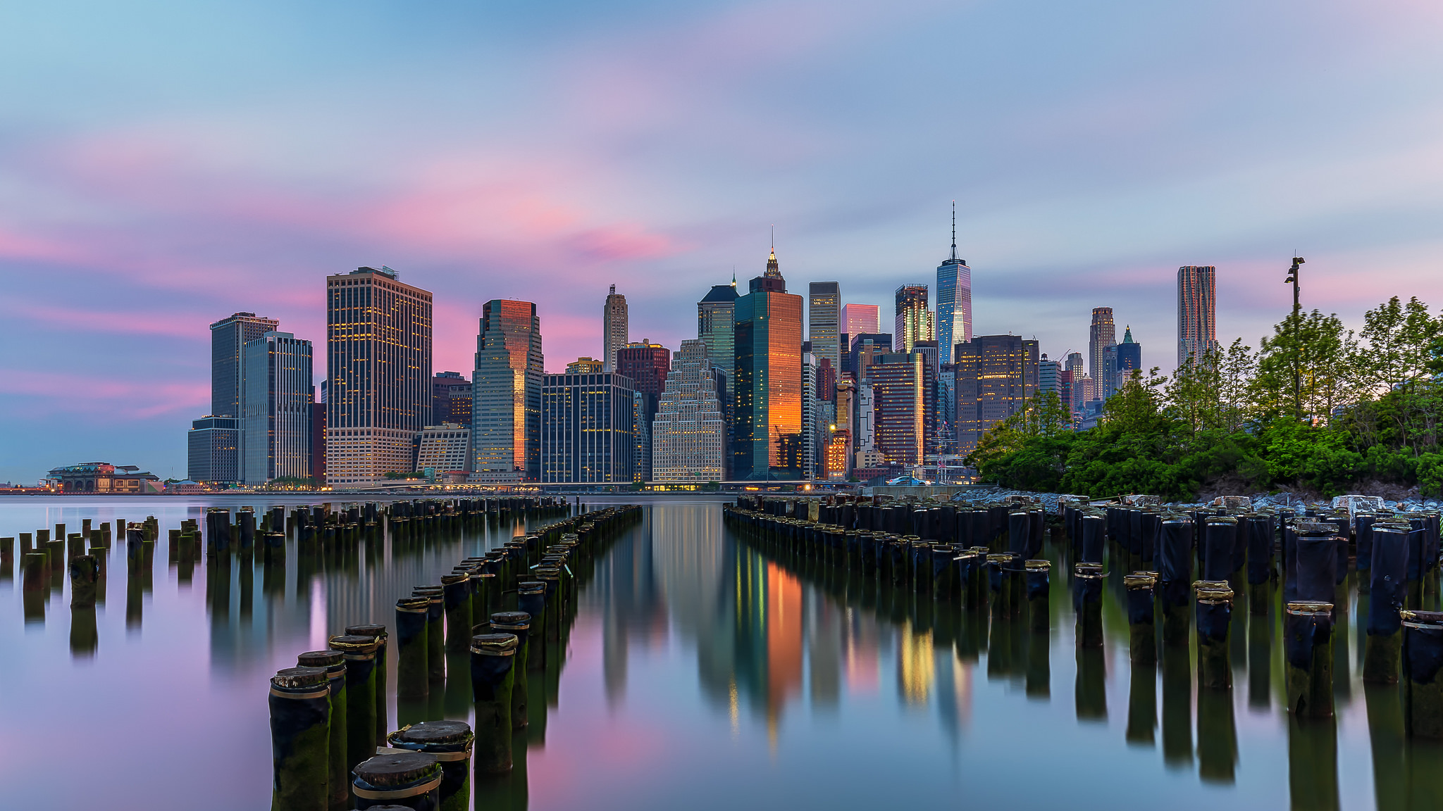 Photo of Brooklyn Bridge Park at Sunrise; photo courtesy of Flickr cc/Lukas Schlagenhauf