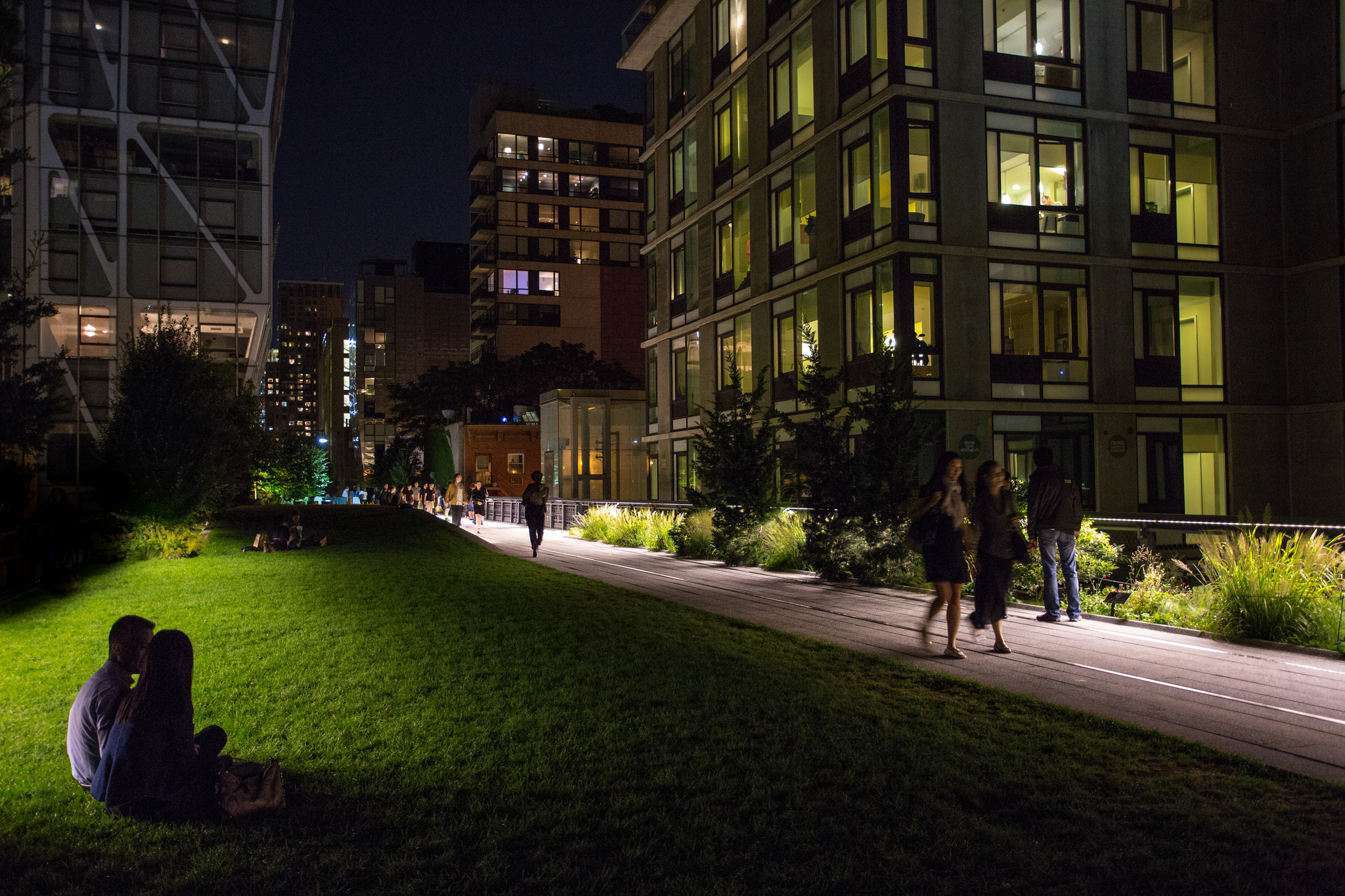 Photo of the High Line in New York City at Night; courtesy of Flickr cc/ Lauri Vain