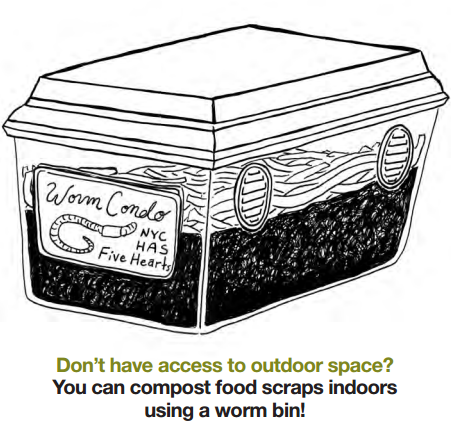 Picture of worm bin: don't have outdoor space? You can compost food scraps  indoors using a worm bin!