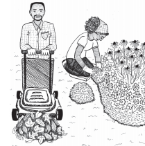 Illustration of man collecting leaves and woman using mulch in a flower bed