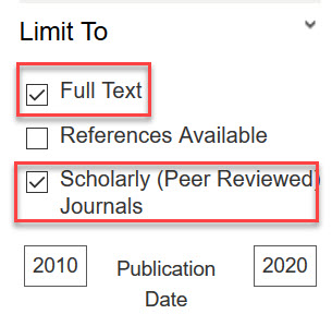 Limiters for Full Text and Scholarly