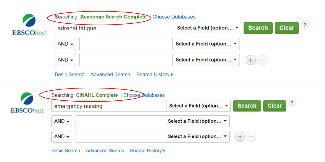 Example of search pages for both CINAHL and Academic Search Complete. Show that the database name is present above the search box.