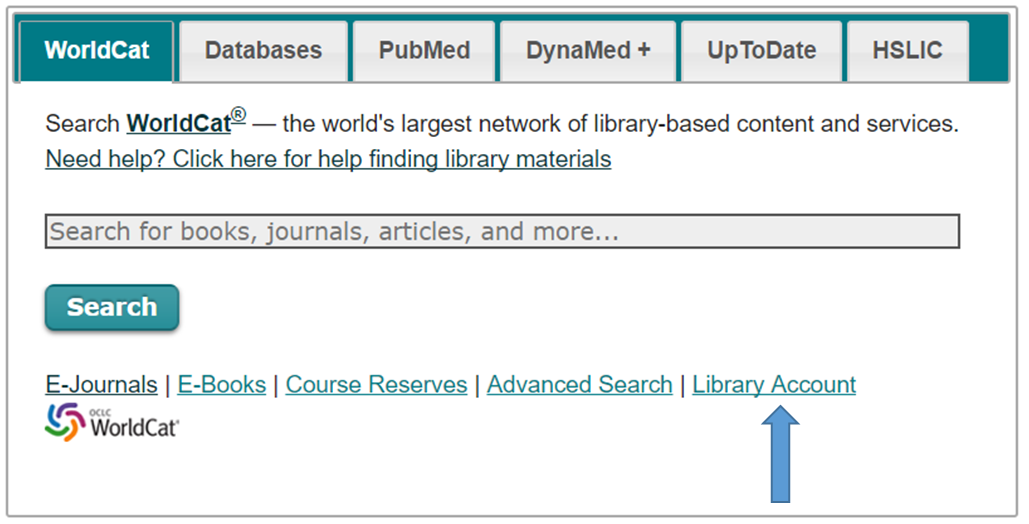 Main search box with WorldCat tab selected. Options below text box to search within e-journals, e-books, or course reserves. Followed by options to do an advanced search and access your library account.