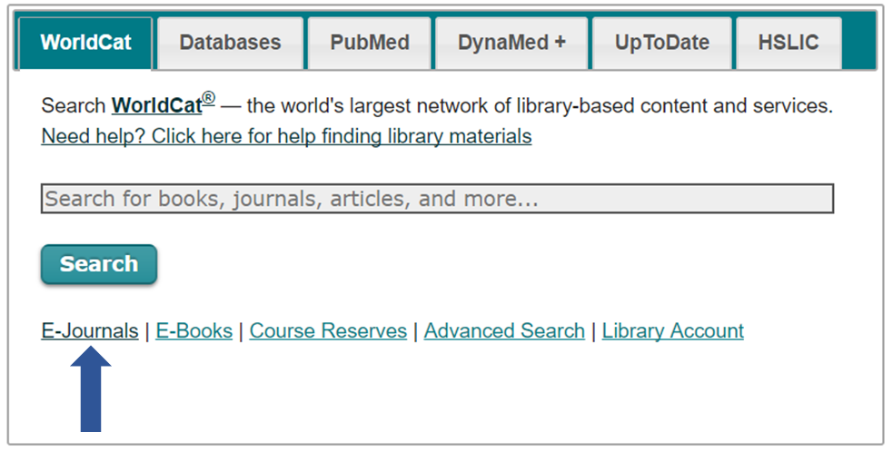 Main search box with and arrow pointing to E-journals link below it.