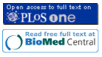 Open access icons for Plos One and BioMed Central