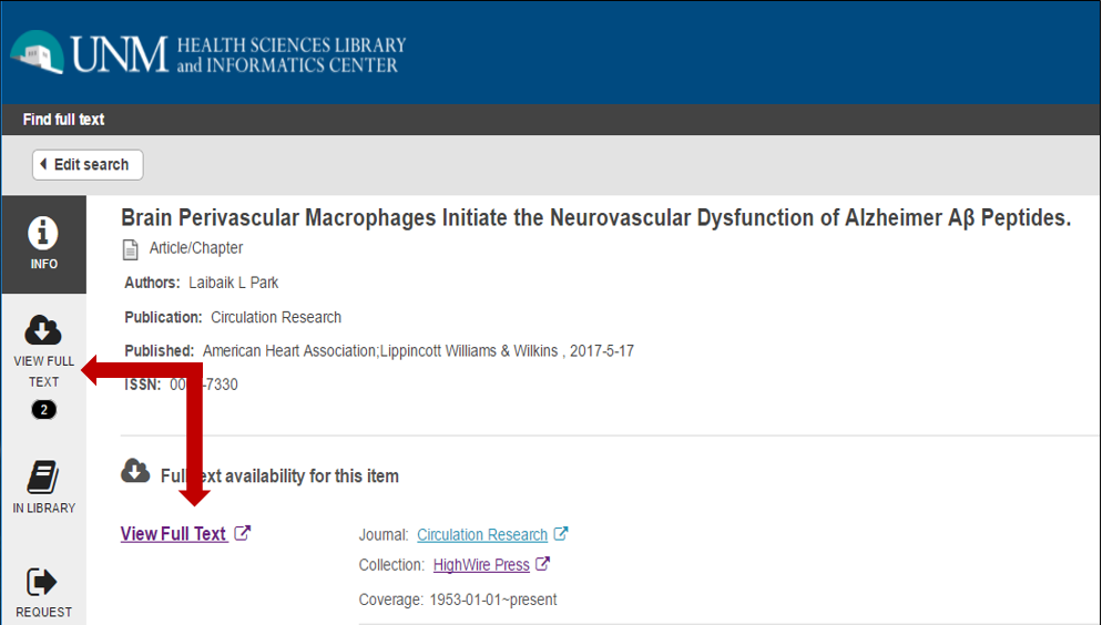 after clicking on UNM find article link - HSLIC displays multiple link for access to article and/or journal