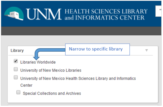 Library filter on left side of results page, allows one to filter by library, for example HSLIC.