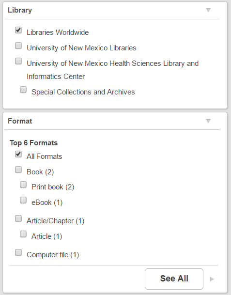 Filters present on left side of results page. Library and Format filters in image.