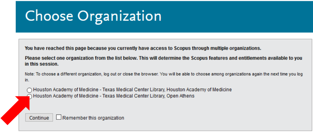 Scopus: Choose Organization