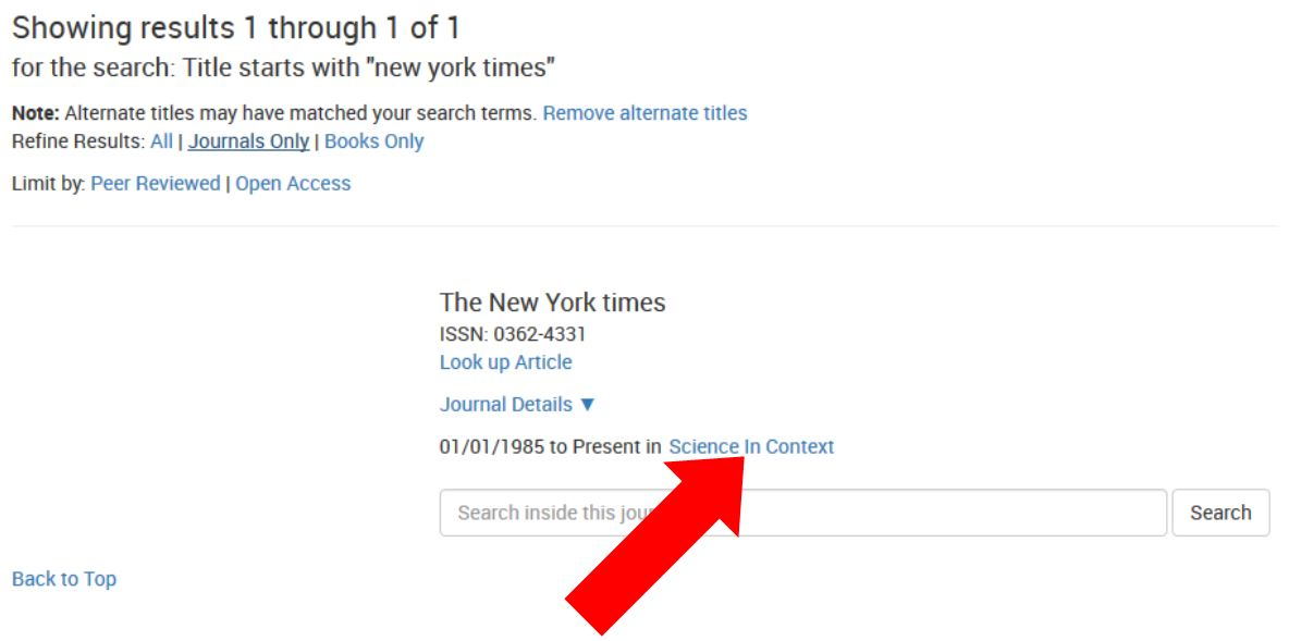Journal Search: New York Times: Results