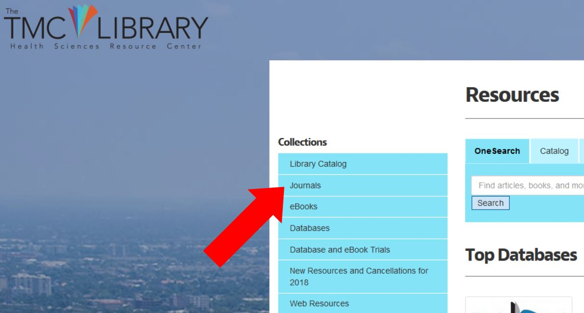 TMC Library website: Library Resources Menu