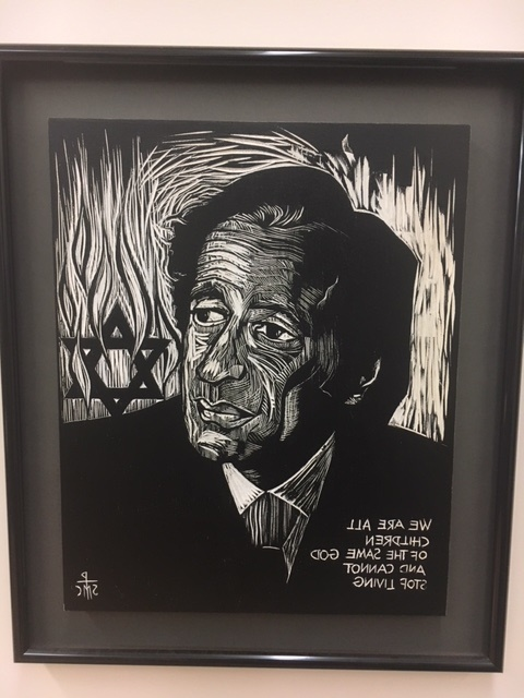 Second Floor: Wood Cut of Elie Wiesel by Sister Mary Charles McGough, O.S.B.