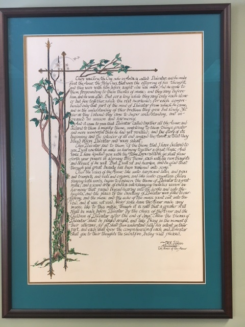 First Floor: Sister Margaret Clarke, O.S.B. Calligraphy and Illumination  from The Silmarillion by Tolkien