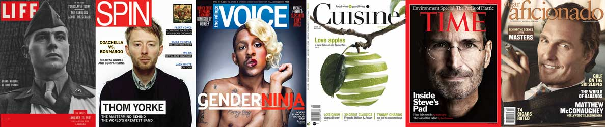 A variety of popular magazines, inculding Time and Cuisine