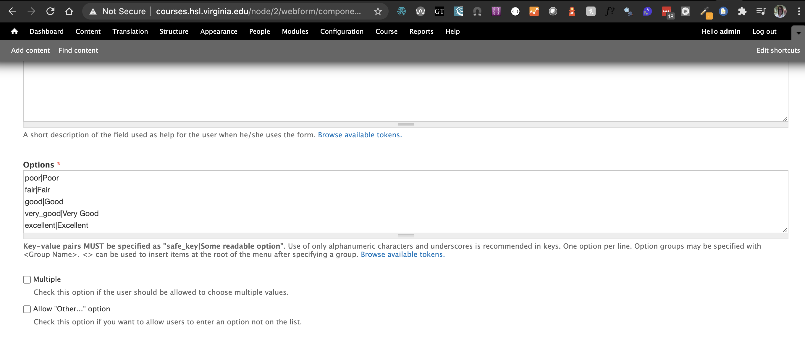 This is a picture of the text that creates a select list in the drupal webform module