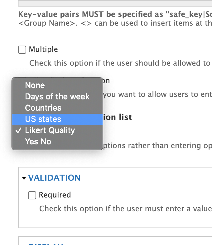 After installing the values module we now have these drop-down lists of choices that pre-fill the select options and simplify user interface