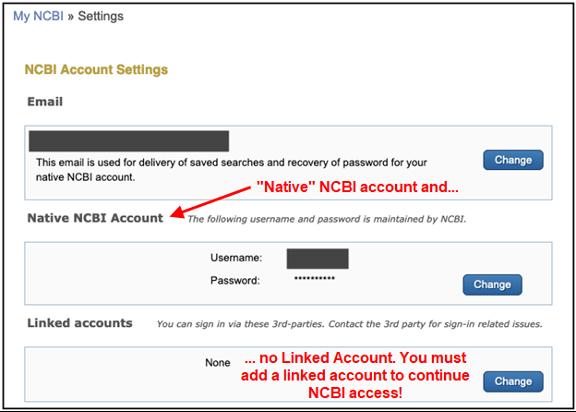 This photo is of a screenshot of NCBI account settings.