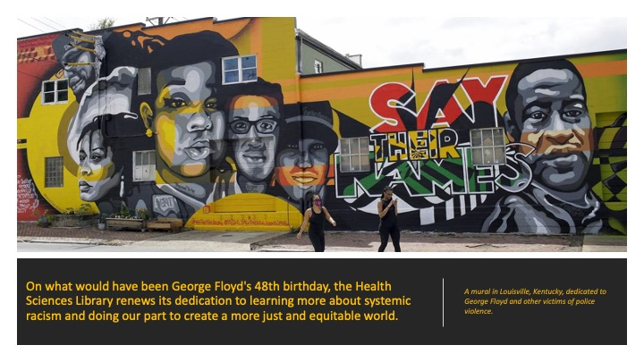 The upper two thirds of this banner has a photo of a mural of George Floyd and other victims of police violence. The text reads,