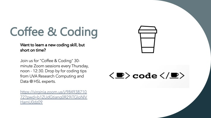 This banner has a mostly white background with shades of blue on the right side.  An icon of a disposable coffee cup is on the right side, below which is a faux equation consisting of a coffee cup icon inside < >, followed by the word