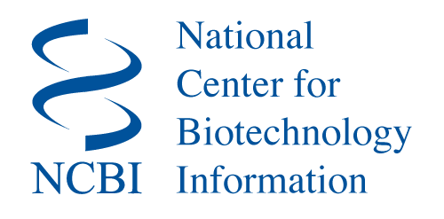 This is the logo for the National Center for Biotechnology (NCBI). It has a white background with words in blue.
