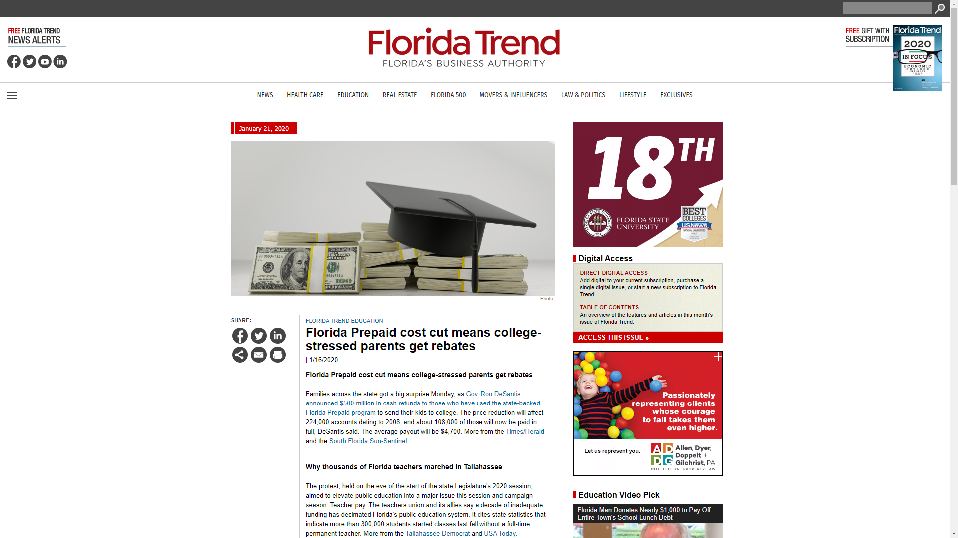 Screen shot of Florida Trend website