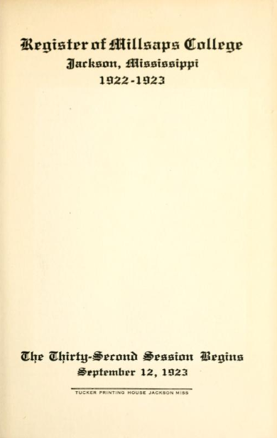 College Catalog Title Page 1922-1923