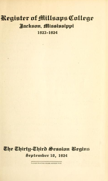 College Catalog Title Page 1923-1924