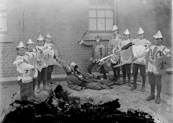 Photograph, children of Harkaway State School dressed in fancy dress costumes - knights slaying a dragon, circa 1890-1900, H2012.171/443