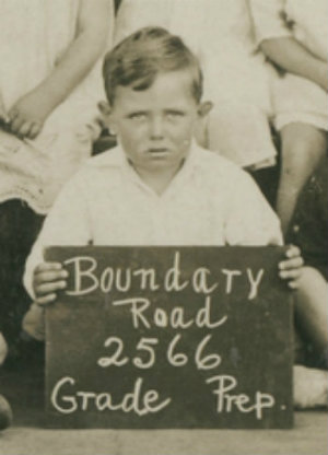 Photograph, detail of small boy from class photo for Boundary Road School, 2566, Grade Prep.