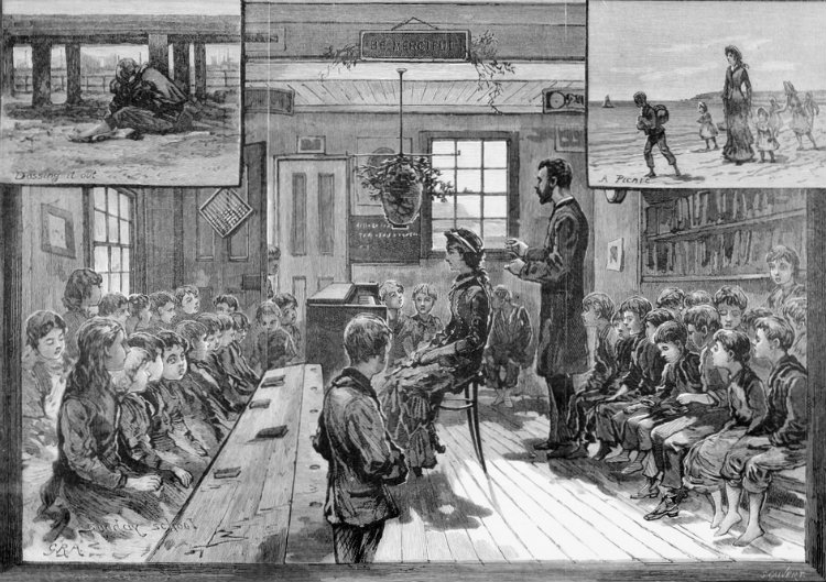 Print, wood engraving, Hornbrook ragged school, classroom scene with children and schoolmaster