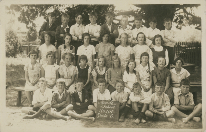 Photograph, class photo of children at Moorabbin School, 1111, Grade 6, 1936 H2008.12/95